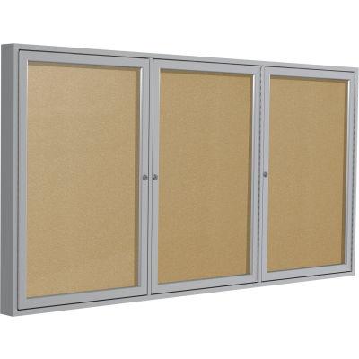 "Ghent Enclosed Bulletin Board - Outdoor / Indoor - Vinyl - 36"" x 72"" H - Caramel"