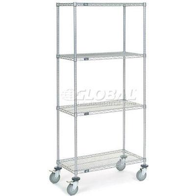 Nexel® Chrome Wire Shelf Truck 36x18x80 1200 Pound Capacity