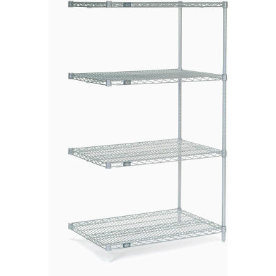 """Nexel® Stainless Steel Wire Shelving Add-On 36""""W x 24""""D x 63""""H"""