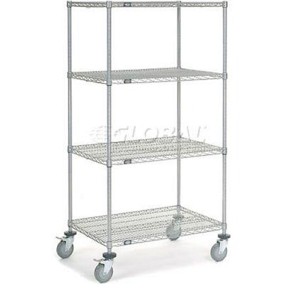 Nexel® Chrome Wire Shelf Truck 36x24x69 1200 Pound Capacity with Brakes