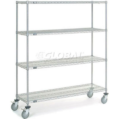Nexel® Chrome Wire Shelf Truck 60x18x69 1200 Pound Capacity with Brakes