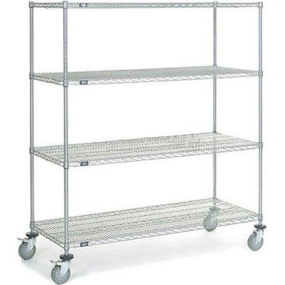 "Nexel® Chrome Wire Shelf Truck, 60""W x 24""D x 69""H, 1200 Lb. Capacity"