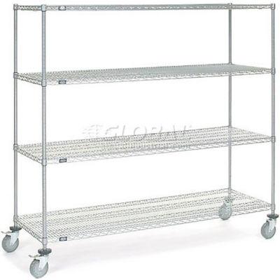 Nexel® Chrome Wire Shelf Truck 72x24x69 1200 Pound Capacity with Brakes